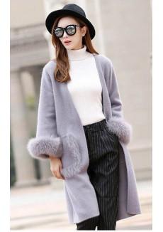 Кашемировый ярко фиолетовый кардиган с меховыми карманами