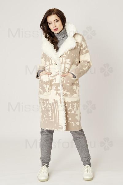 Кардиган-пальто молочного цвета с бежевым рисунком