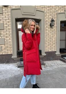 Красная парка с накладными карманами